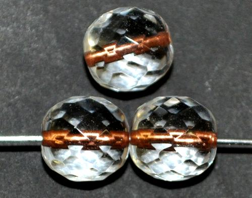 Best.Nr.:29025 facettierte Glasperlen kristall mit Kupfereinzug, hergestellt in Gablonz / Tschechien