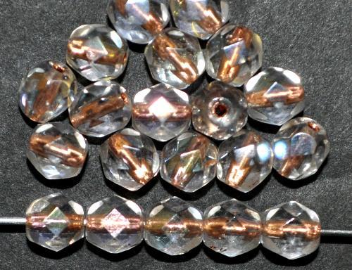 Best.Nr.:29026 facettierte Glasperlen kristall mit Kupfereinzug und AB, hergestellt in Gablonz / Tschechien