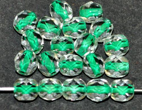 Best.Nr.:29029 facettierte Glasperlen kristall mit Farbeinzug grün, hergestellt in Gablonz / Tschechien