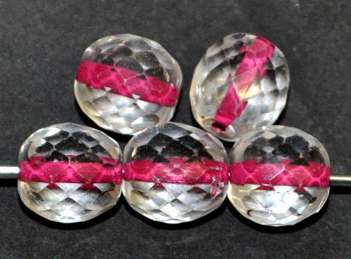 Best.Nr.:29031 facettierte Glasperlen kristall mit Farbeinzug fuchsia, hergestellt in Gablonz / Tschechien