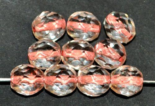 Best.Nr.:29032 facettierte Glasperlen kristall mit Farbeinzug altrosa, hergestellt in Gablonz / Tschechien