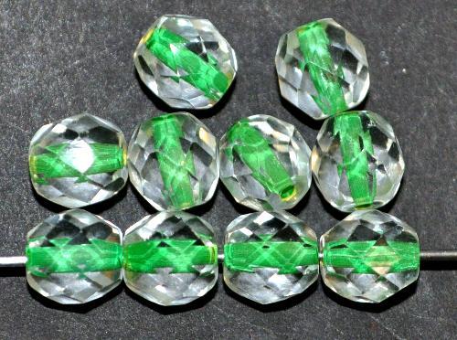 Best.Nr.:29033 facettierte Glasperlen kristall mit Farbeinzug grün, hergestellt in Gablonz / Tschechien