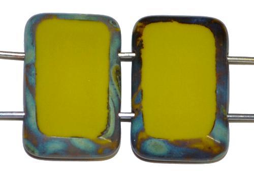 Best.Nr.:67713 Glasperlen / Table Cut Beads geschliffen  mit 2 Löchern  oliv opak mit picasso finish,  hergestellt in Gablonz / Tschechien