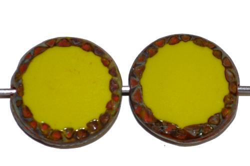Best.Nr.:671064 Glasperlen / Table Cut Beads geschliffen Scheiben,  oliv opak mit picasso finish, hergestellt in Gablonz Tschechien
