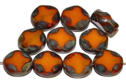 Best.Nr.:671388 Glasperlen / Table Cut Beads  geschliffen, Perlett ambar mit picasso finish,  hergestellt in Gablonz Tschechien