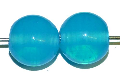 Best.Nr.:30119 Wickelglasperlen rund, Opalglas hellblau, in den 1930/1940 Jahren in Gablonz/Böhmen von Hand gefertigt