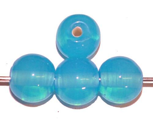 Best.Nr.:30139 Wickelglasperlen rund, Opalglas hellblau, in den 1930/1940 Jahren in Gablonz/Böhmen von Hand gefertigt