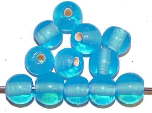 Best.Nr.:30150 Wickelglasperlen rund, Opalglas hellblau, in den 1930/1940 Jahren in Gablonz/Böhmen von Hand gefertigt