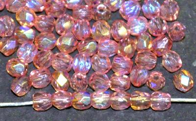 Best.Nr.:28392 facettierte Glasperlen  pink mit AB,  hergestellt in Gablonz / Tschechien