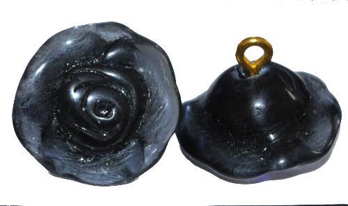 Best.Nr.:34003 Glasröschen mit Öse,  nach alten Vorlagen aus den 1920/30 Jahren neu gefertigt, taubenblau,  hergestellt in Gablonz / Tschechien