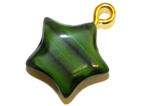 Best.Nr.:34004 Glasanhänger Stern mit Öse,  Perlettglas grün,  hergestellt in Gablonz / Tschechien