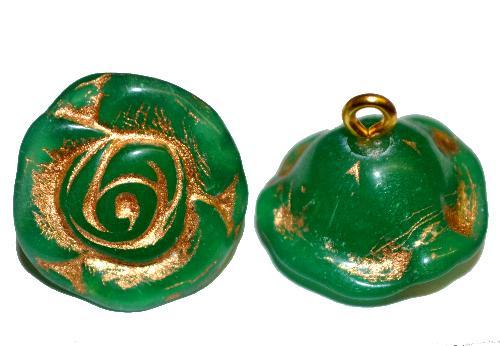 Best.Nr.:34006  Glasröschen mit Öse,  nach alten Vorlagen aus den 1920/30 Jahren neu gefertigt, alabaster grün mit Goldauflage,  hergestellt in Gablonz / Tschechien