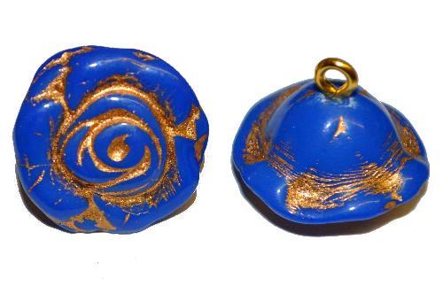 Best.Nr.:34022  Glasröschen mit Öse,  nach alten Vorlagen aus den 1920/30 Jahren neu gefertigt, dunkelblau opak mit Goldauflage,  hergestellt in Gablonz / Tschechien
