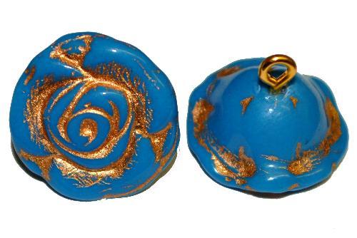 Best.Nr.:34037  Glasröschen mit Öse,  nach alten Vorlagen aus den 1920/30 Jahren neu gefertigt, puwderblue opak mit Goldauflage,  hergestellt in Gablonz / Tschechien