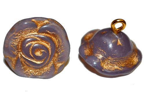 Best.Nr.:34040 Glasröschen mit Öse,  nach alten Vorlagen aus den 1920/30 Jahren neu gefertigt, smoky alabaster violett mit Goldauflage,  hergestellt in Gablonz / Tschechien