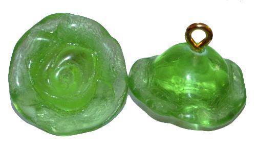 Best.Nr.:34046 Glasröschen mit Öse,  nach alten Vorlagen aus den 1920/30 Jahren neu gefertigt, grün transp.,  hergestellt in Gablonz / Tschechien