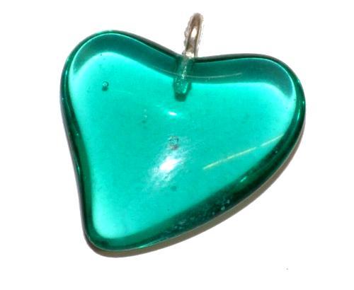 Best.Nr.:34059 Glasanhänger Herz mit Öse, petrol transp., hergestellt in Gablonz / Tschechien