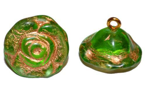 Best.Nr.:34074  Glasröschen mit Öse,  nach alten Vorlagen aus den 1920/30 Jahren neu gefertigt, grün transp. mit Goldauflage,  hergestellt in Gablonz / Tschechien