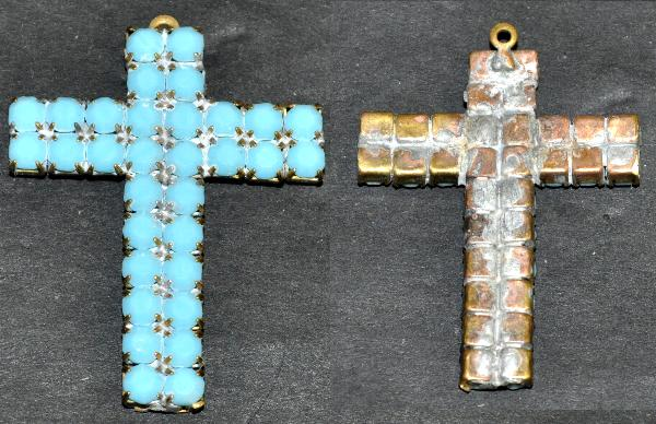 Best.Nr.:34085 Strass Kreuz um 1940/50 in Gablonz/Böhmen hergestellt, nicht galvanisiert