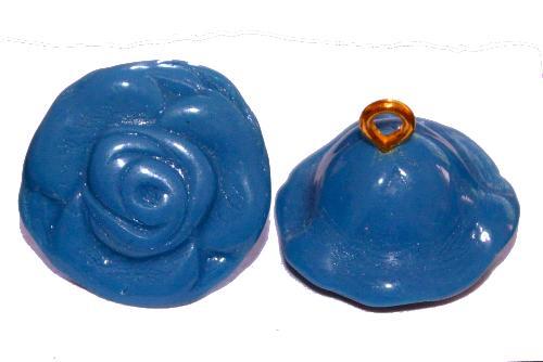 Best.Nr.:34092  Glasröschen mit Öse,  nach alten Vorlagen aus den 1920/30 Jahren neu gefertigt, puwderblue opak,  hergestellt in Gablonz / Tschechien