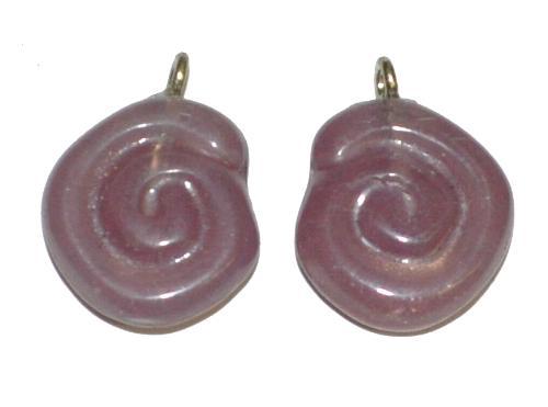 Best.Nr.:34096 Glasanhänger in Schneckenform mit Öse, Alabasterglas violett, hergestellt in Gablonz / Tschechien