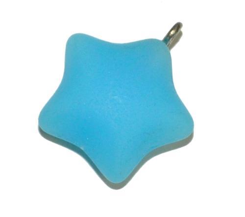 Best.Nr.:34097 Glasanhänger Stern mit Öse, hellblau opak mattiert ( frostet ), hergestellt in Gablonz / Tschechien