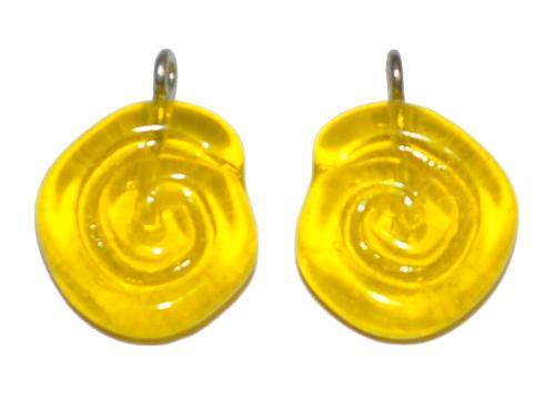 Best.Nr.:34100 Glasanhänger in Schneckenform mit Öse, gelb transp., hergestellt in Gablonz / Tschechien