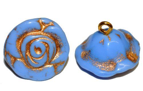 Best.Nr.:34101 Glasröschen mit Öse,  nach alten Vorlagen aus den 1920/30 Jahren neu gefertigt, kornblumenblau opak mit Goldauflage,  hergestellt in Gablonz / Tschechien