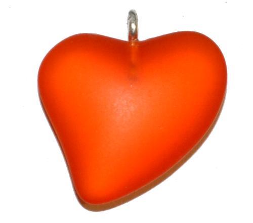 Best.Nr.:34103  Glasanhänger Herz mit Öse,  orange transp. mattiert (frostet),  hergestellt in Gablonz / Tschechien