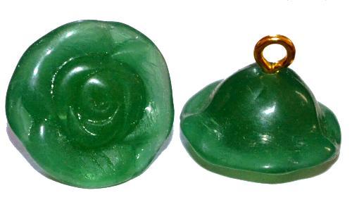 Best.Nr.:34109  Glasröschen mit Öse,  nach alten Vorlagen aus den 1920/30 Jahren neu gefertigt, alabaster grün,  hergestellt in Gablonz / Tschechien