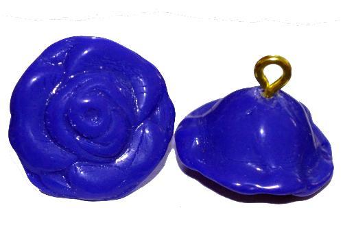 Best.Nr.:34111 Glasröschen mit Öse,  nach alten Vorlagen aus den 1920/30 Jahren neu gefertigt, dunkelblau opak,  hergestellt in Gablonz / Tschechien