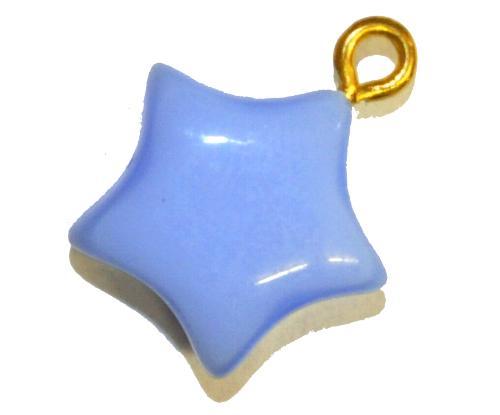 Best.Nr.:34114  Glasanhänger Stern mit Öse,  hellblau opak,  hergestellt in Gablonz / Tschechien
