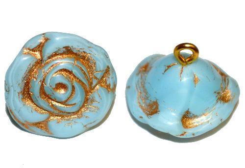 Best.Nr.:34115 Glasröschen mit Öse,  nach alten Vorlagen aus den 1920/30 Jahren neu gefertigt, hellblau opak mit Goldauflage,  hergestellt in Gablonz / Tschechien