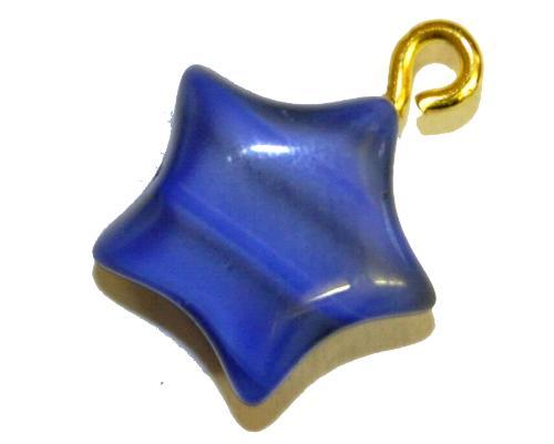 Best.Nr.:34116 Glasanhänger Stern mit Öse,  Perlettglas blau,  hergestellt in Gablonz / Tschechien