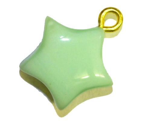 Best.Nr.:34124 Glasanhänger Stern mit Öse,  mintgrün opak,  hergestellt in Gablonz / Tschechien
