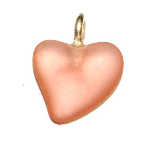 Best.Nr.:34131 Glasanhänger Herz mit Öse,  rosa transp. mattiert (frostet),  hergestellt in Gablonz / Tschechien