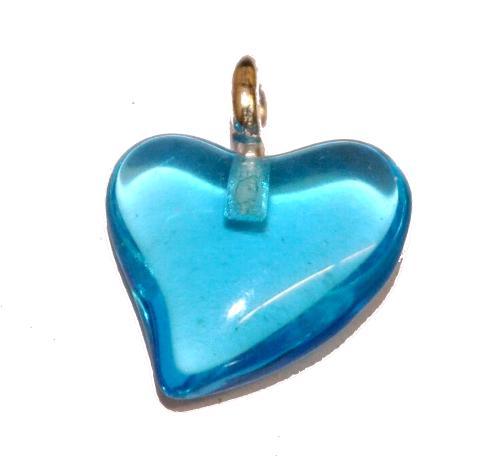 Best.Nr.:34132 Glasanhänger Herz mit Öse,  aqua transp.,  hergestellt in Gablonz / Tschechien