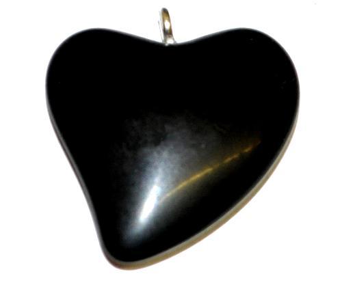 Best.Nr.:34134 Glasanhänger Herz mit Öse,  schwarz opak,  hergestellt in Gablonz / Tschechien
