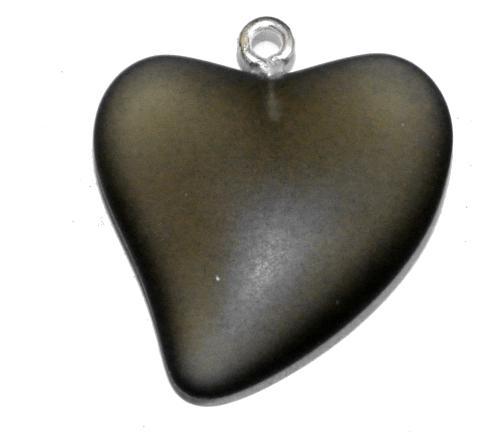 Best.Nr.:34135 Glasanhänger Herz mit Öse,  rauch transp. mattiert (frostet),  hergestellt in Gablonz / Tschechien