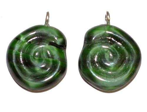 Best.Nr.:34138 Glasanhänger in Schneckenform mit Öse, grün marmoriert, hergestellt in Gablonz / Tschechien