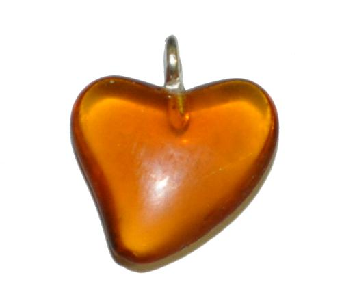 Best.Nr.:34139  Glasanhänger Herz mit Öse,  topas transp.,  hergestellt in Gablonz / Tschechien