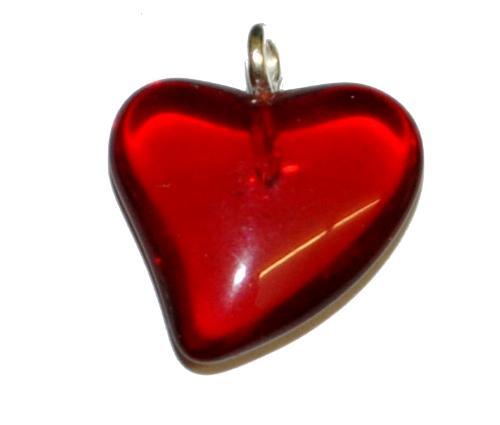 Best.Nr.:34141 Glasanhänger Herz mit Öse,  rot transp.,  hergestellt in Gablonz / Tschechien