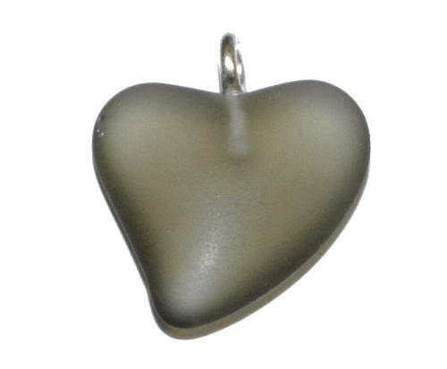 Best.Nr.:34142 Glasanhänger Herz mit Öse,  grau mattiert (frostet),  hergestellt in Gablonz / Tschechien