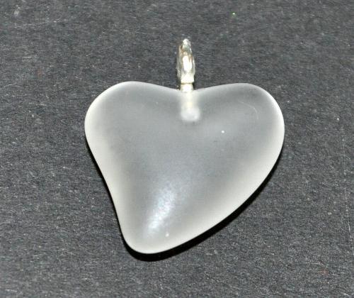 Best.Nr.:34144  Glasanhänger Herz mit Öse,  kristall mattiert (frostet),  hergestellt in Gablonz / Tschechien