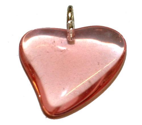 Best.Nr.:34145 Glasanhänger Herz mit Öse,  rosa transp.,  hergestellt in Gablonz / Tschechien
