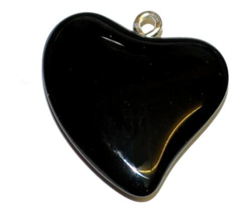 Best.Nr.:34146 Glasanhänger Herz mit Öse, schwarz opak, hergestellt in Gablonz / Tschechien