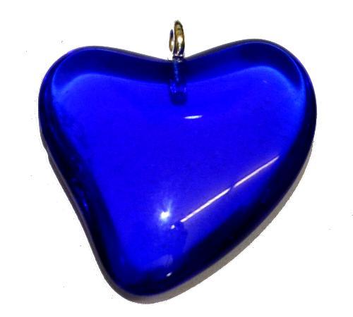 Best.Nr.:34149  Glasanhänger Herz mit Öse,  blau transp.,  hergestellt in Gablonz / Tschechien