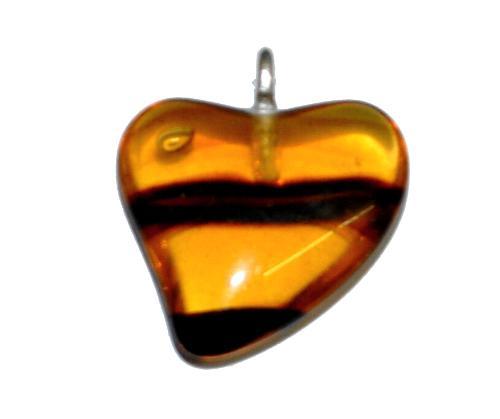 Best.Nr.:34150 Glasanhänger Herz mit Öse,  topas transp.,  hergestellt in Gablonz / Tschechien