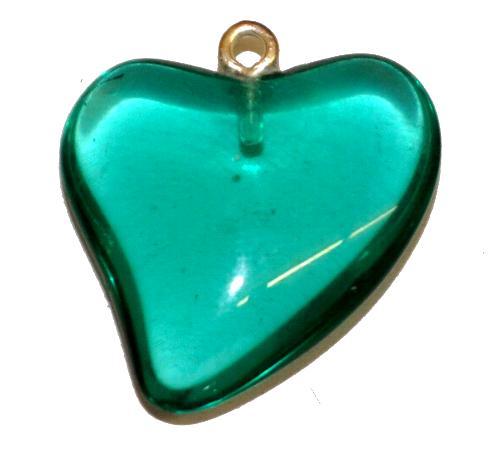 Best.Nr.:34152  Glasanhänger Herz mit Öse,  petrol transp,  hergestellt in Gablonz / Tschechien