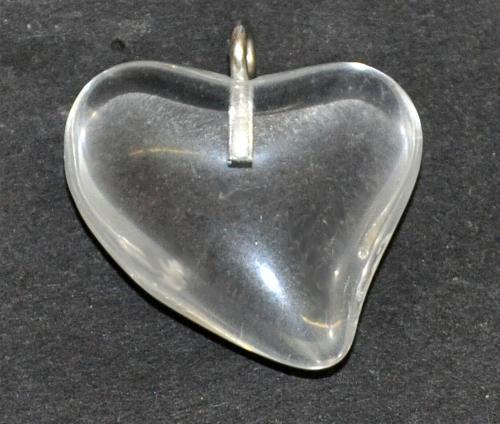 Best.Nr.:34154 Glasanhänger Herz mit Öse, kristall, hergestellt in Gablonz / Tschechien